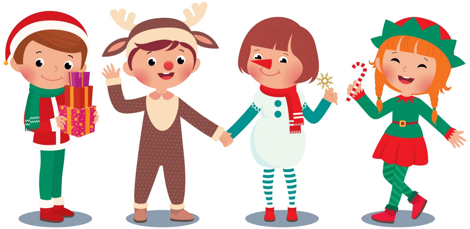 Children in Christmas costume characters celebrate Christmas