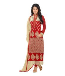 Heenari Vol 2 Red Faux Georgette Embroidered Dress Materaial