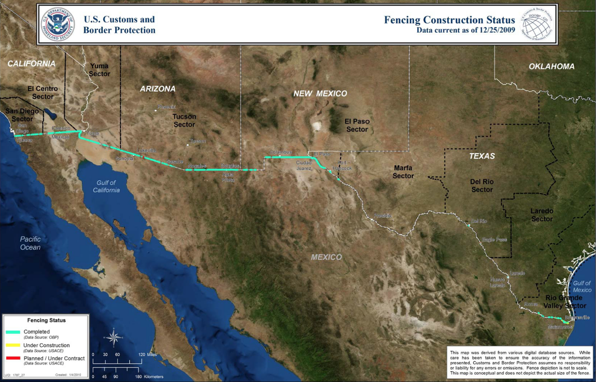 us customs and border protection is not releasing current maps of border barriers this map is from 2009 when the existing fence was nearly complete