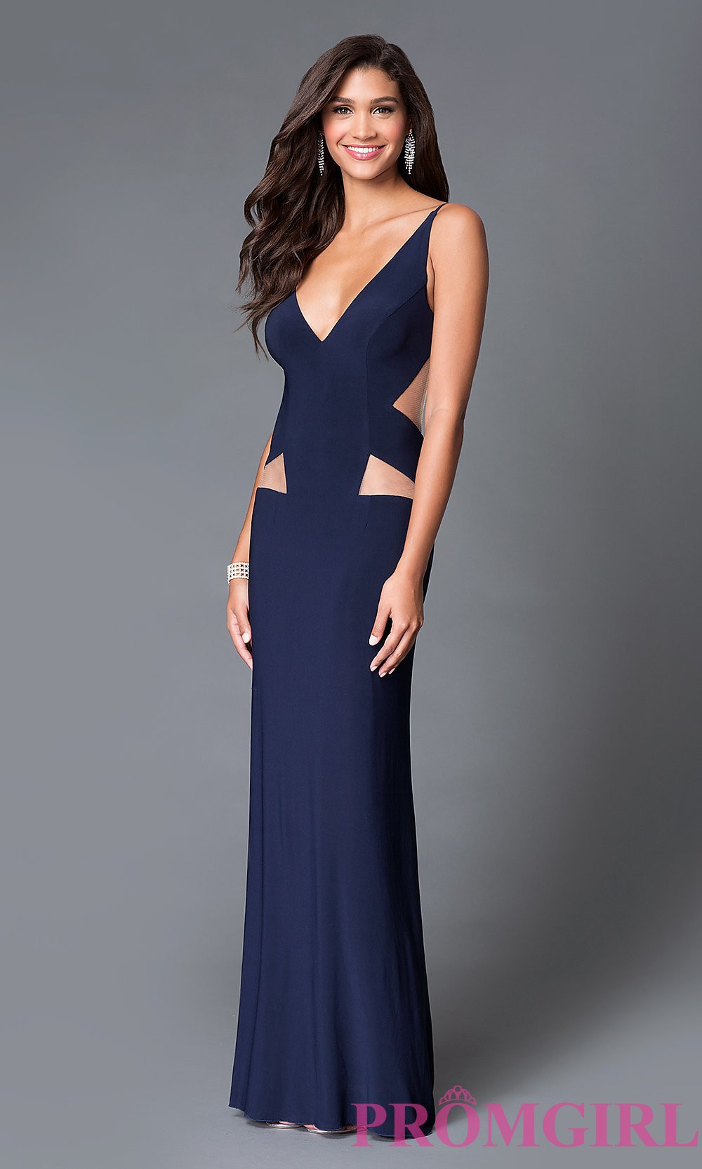 6713b2a1be19 Long V-Neck Prom Dress with an Open Back and Cut Outs by Dave and Johnny