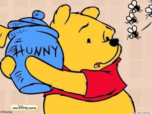 "Winnie the Pooh protecting his ""hunny"" from bees."