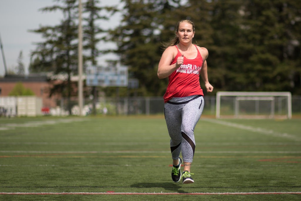 Chapman runs a sprint on May 3, 2016 at the Western track's turf field.