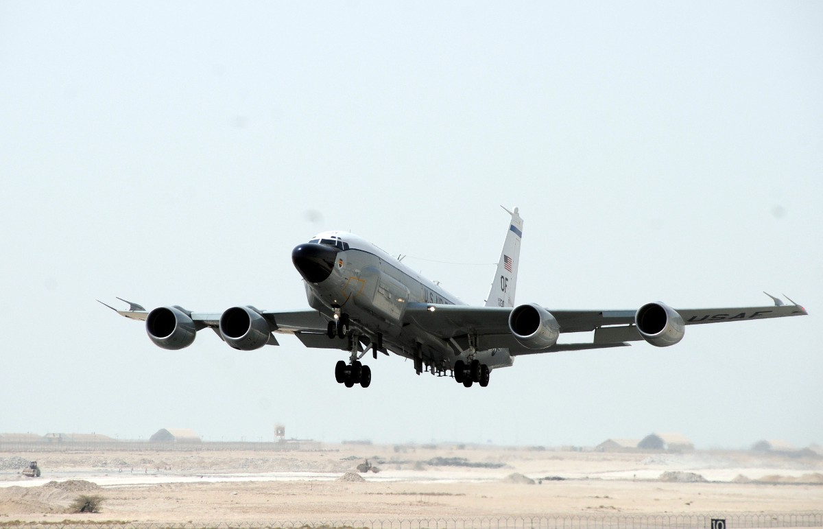 An RC-135V/W Rivet Joint takes off from a base in the Middle East. Air Force photo