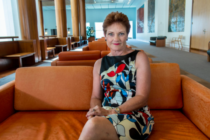 Pauline Hanson in the Parliament House, Canberra. (Photo by Philip Myers from Anna Broinowski's Pauline Hanson: Please Explain!)