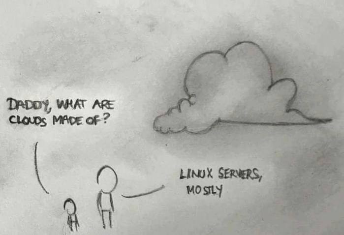 clouds made of linux servers joke
