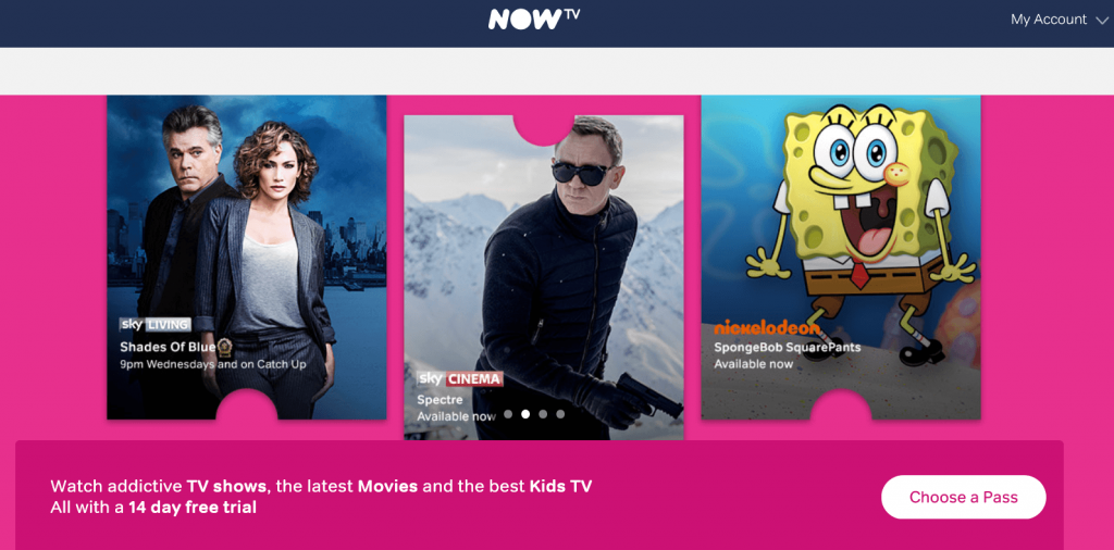 Image 1. NowTV example drip email campaigns