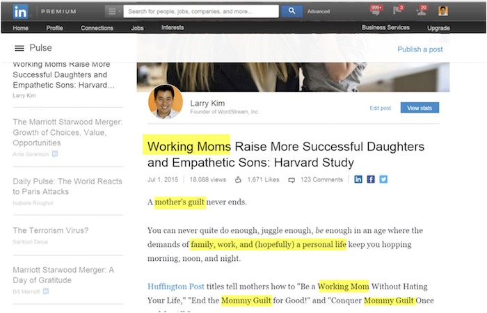 how to add an article on linkein