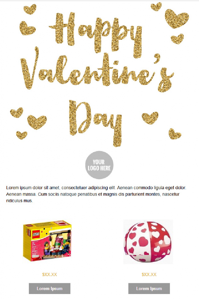 Valentines Day Email Templates - Golden Hearts