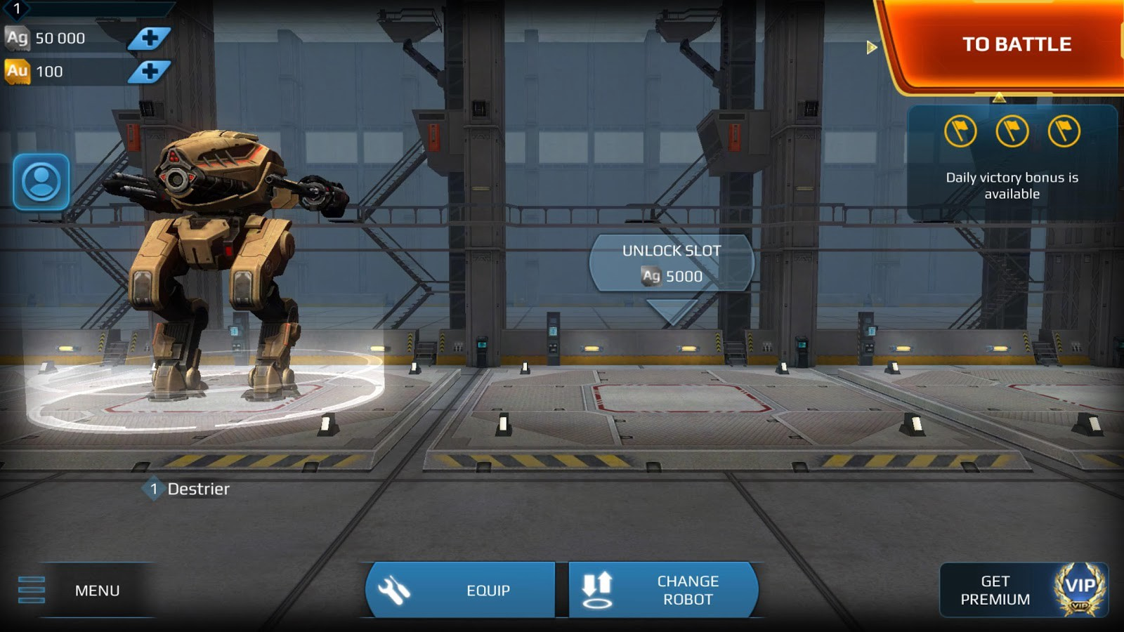 Hangar for new players where you can press nothing but the to battle button