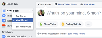 Switching to Most Recent feed on Facebook desktop browser