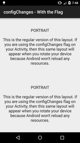 Android - configChanges - With the Flag - Portrait