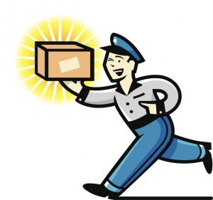 A retro-looking delivery man enthusiastically carries a package to its destination