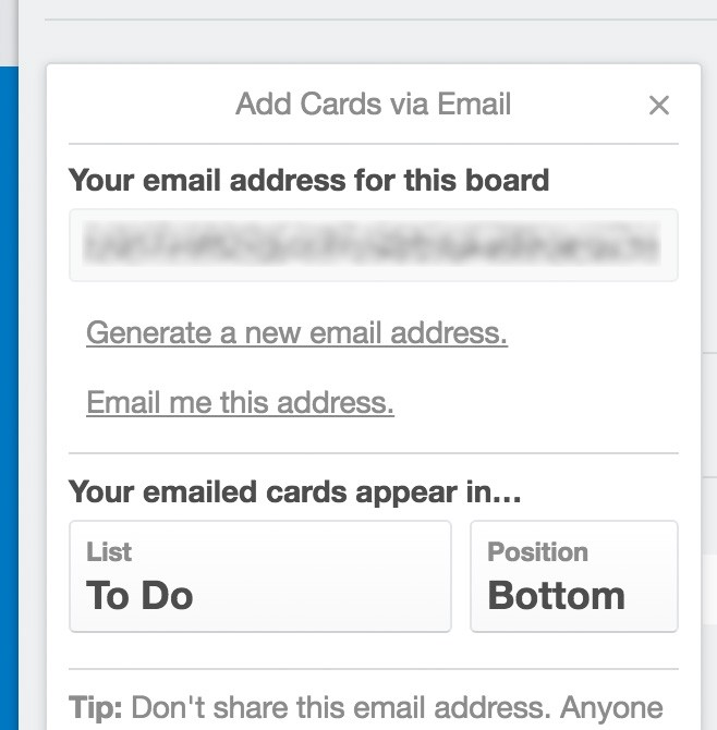 Trello's email-to-board settings dialogue