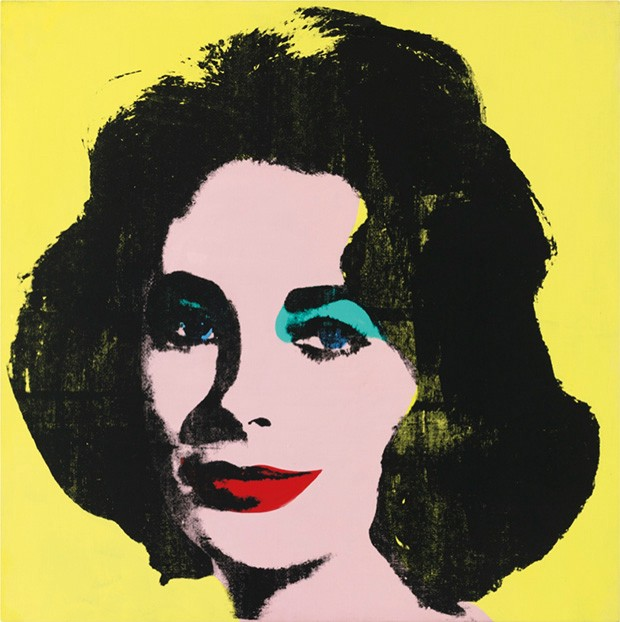 Andy Warhol yellow colored Liz Taylor