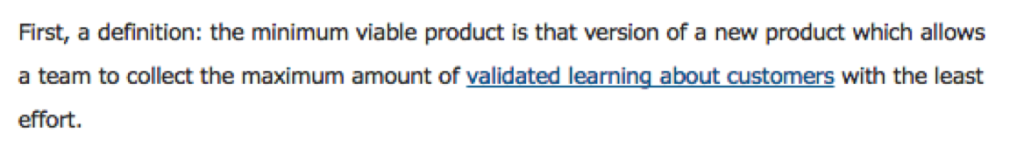 Minimal Viable Product Definition