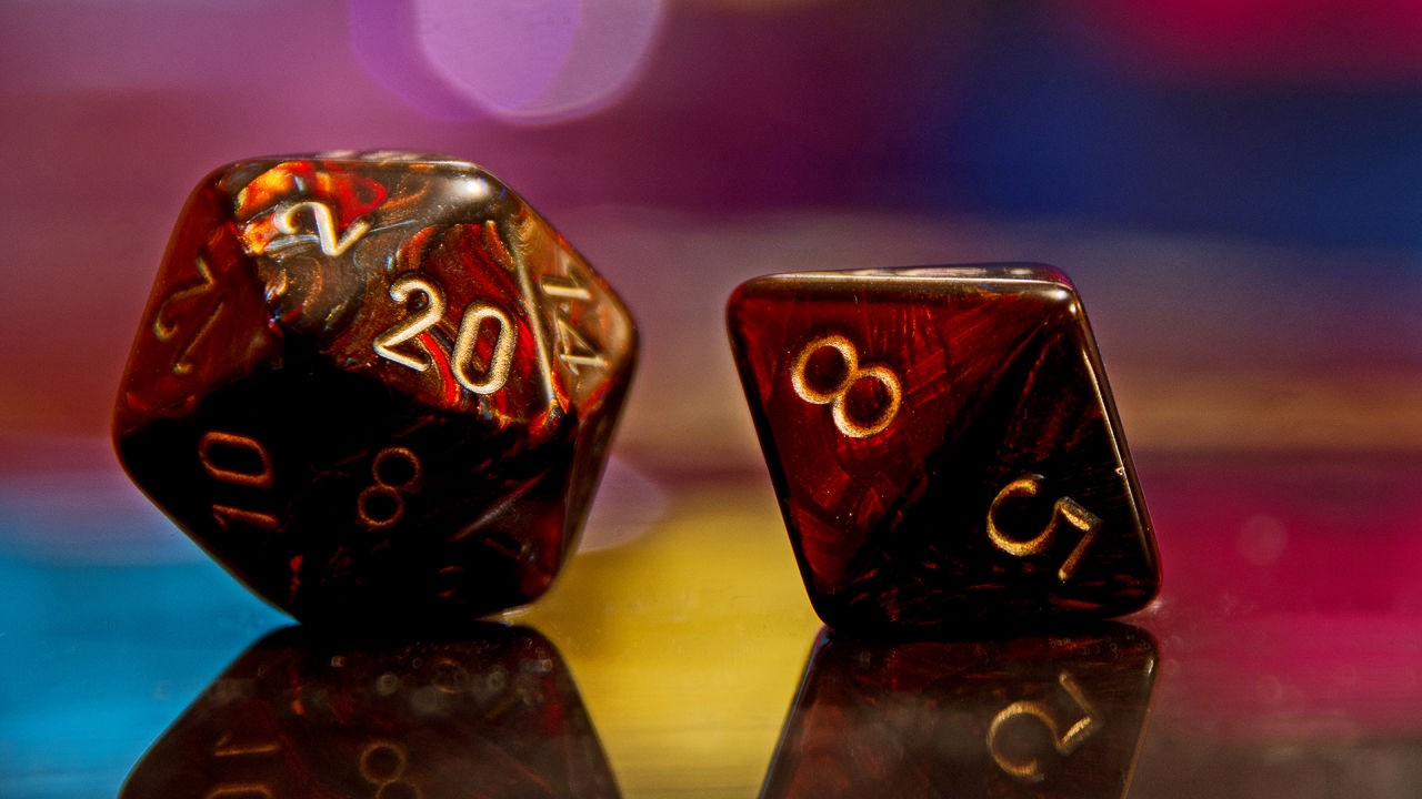 A D20 and D8 Dice