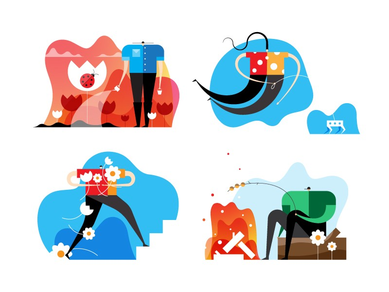 Little head guys illustrations by Infographic Paradise