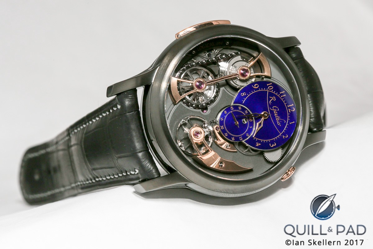 Romain Gauthier Logical One in black with blue enamel dials