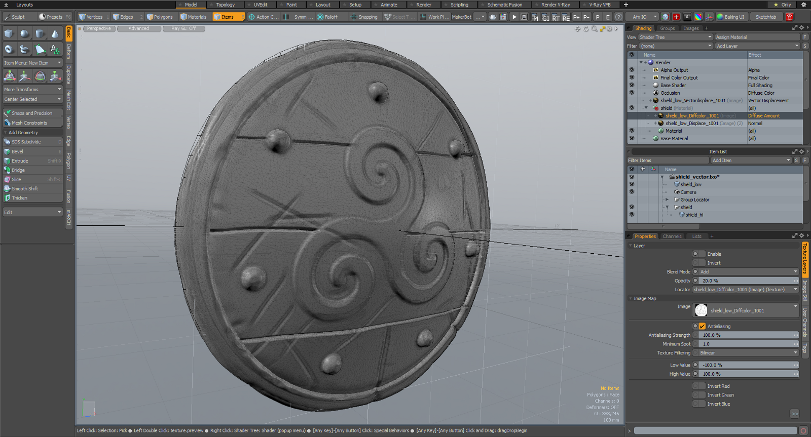 Hi Res Shield Model to be used for Baking