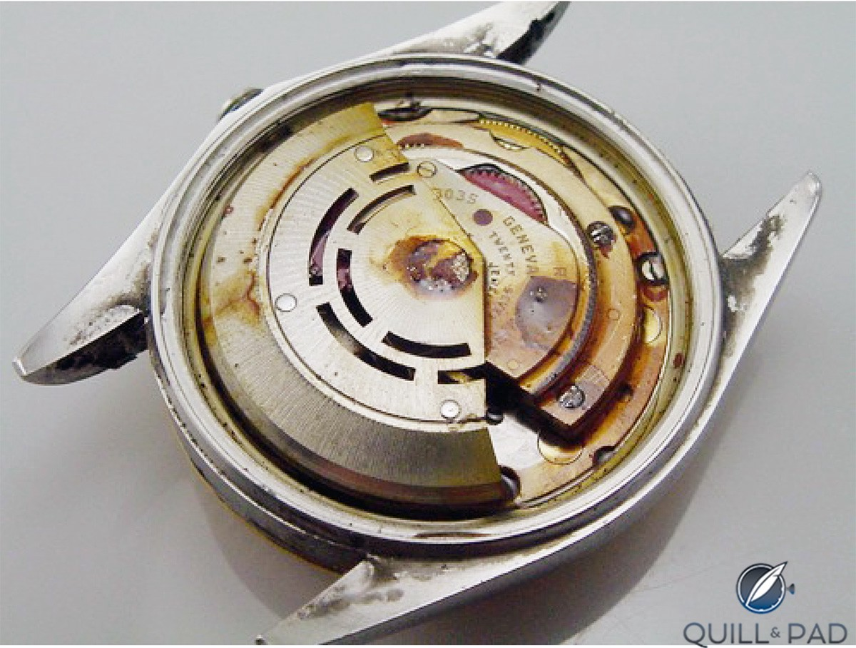 Rust on a watch movement is is not a pretty sight