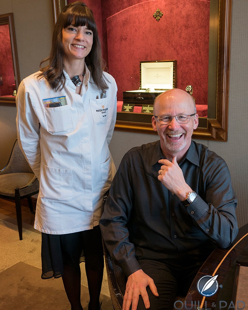The author and his new Patek Philippe Reference 5370P with the Patek Philippe Geneva Salon's watchmaker