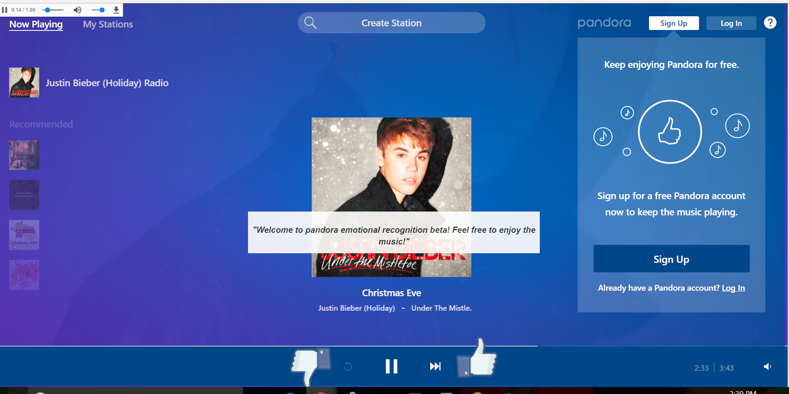 figure 1 screenshot of the webpage of our prototype - Best Pandora Christmas Station