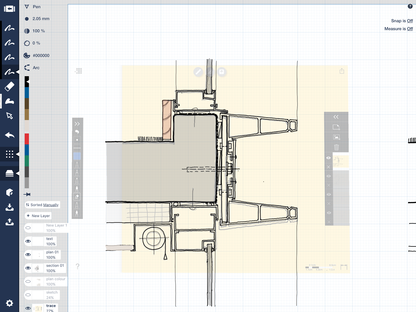 Once we were happy with the appearance and the rough detail resolution  I  would bring the Trace sketch into Concepts and begin doing the final sketch. The Design Life of a Paperless Architect   Concepts App   Medium