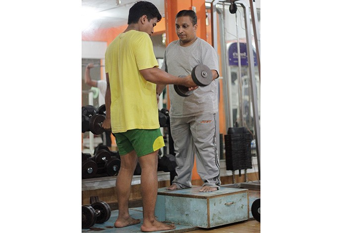 Ajinkya Joshi (right) with one of his proteges at the fitness and health club
