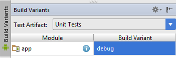 Select Unit test artifact from Build Variants