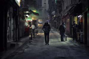 Why companies dont hire veterans unfamiliar Stranger walking down alley viewed with suspicion.
