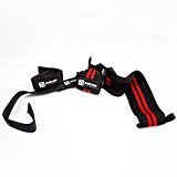"""18"""" Wrist Wraps + Padded Lifting Straps for Weight Training. Wrist Support + Protection for Bench Press. Grip Strength for Deadlift, Rows, Shrugs. For Weightlifting Powerlifting Bodybuilding"""