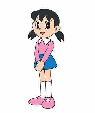 Shizuka-chan in a pink tops with a blue short skirt