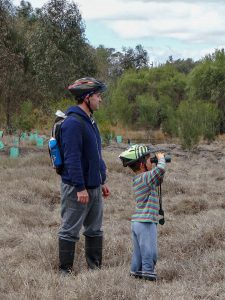 Father and son bird watching around the wetlands