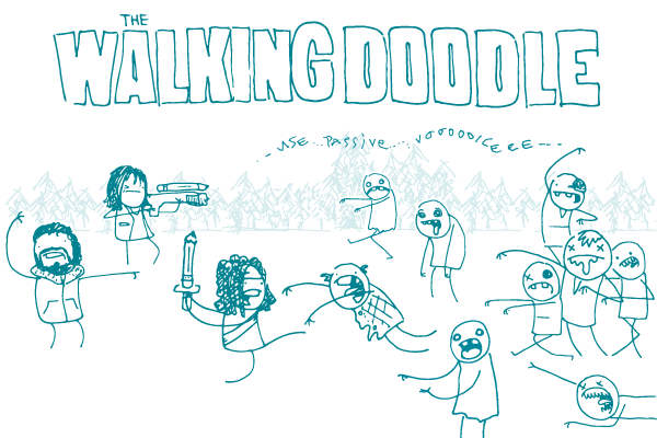 """A group of doodles armed with pencils fight zombies, under a banner that says """"The Walking Doodle."""""""