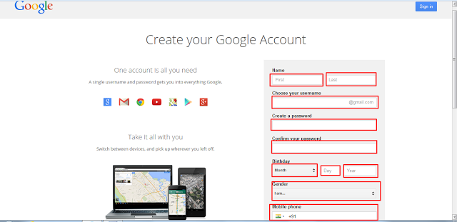 Gmail sign up how to create new a gmail account gmail account name contains your first name and last name stopboris Choice Image