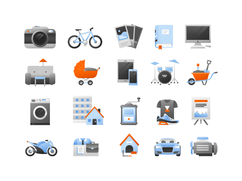 Mobile application icons by Dolynda for Ackee