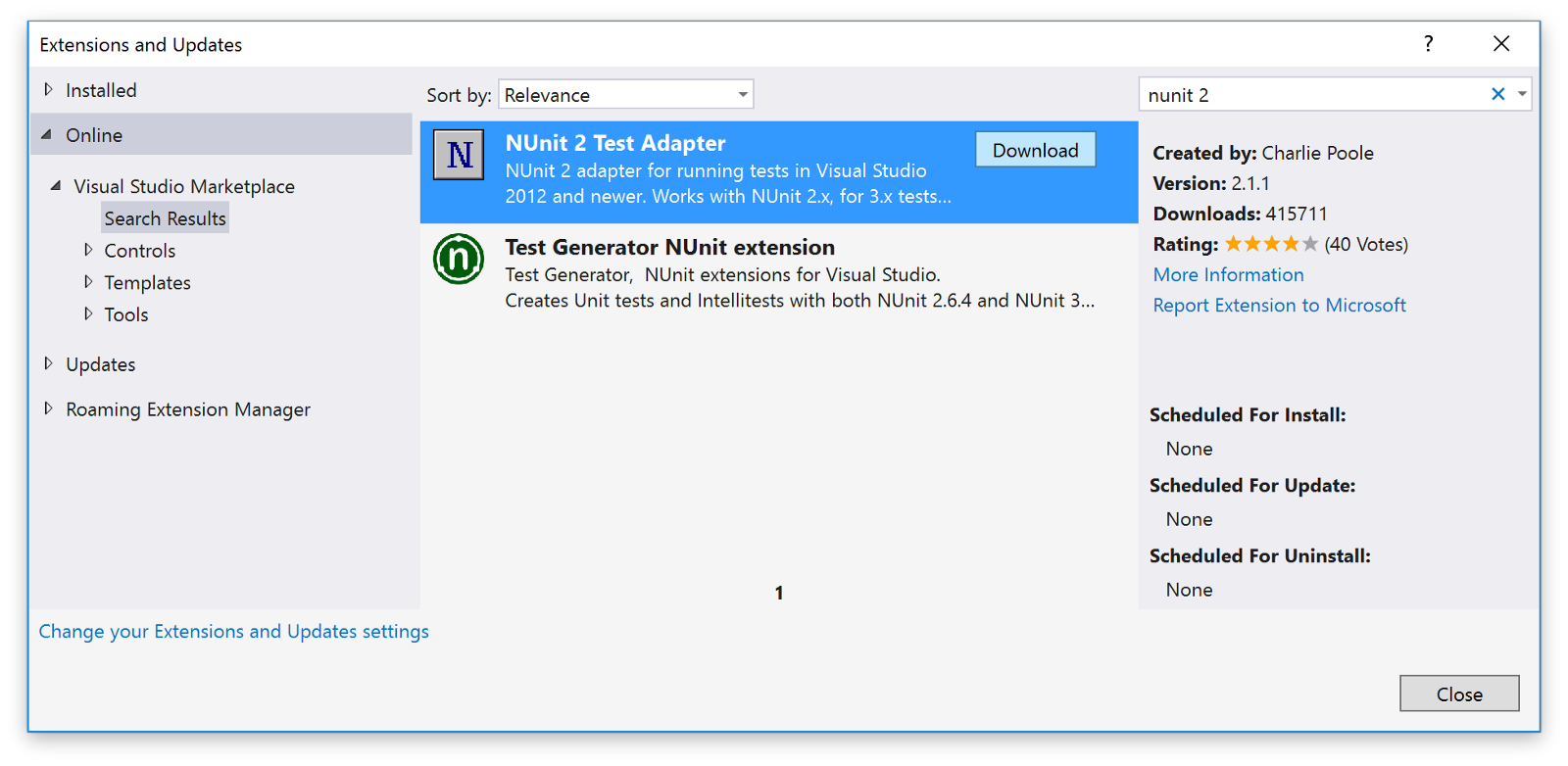 Installing the NUnit 2 test adapter