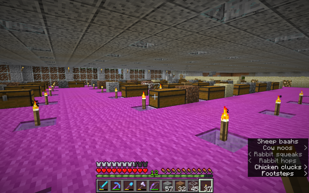 A very large room in minecraft, containing a few dozen two-block chests, each of which is labeled by the block of stone next to it.