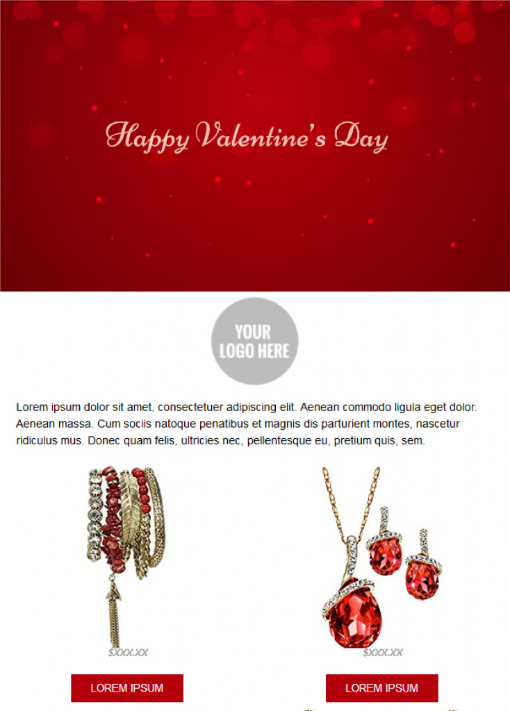 Valentines Day Email Templates - Red Edition
