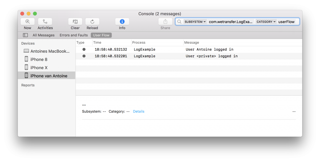 An example of the logs inside the Console.app