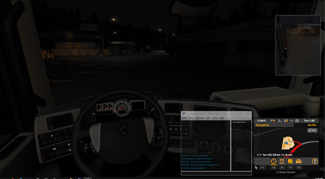 Transparent and pinned Chatty window over top of Euro Truck Simulator 2
