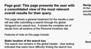 """Screenshot of text from a wireframe. """"Page goal: this page presents the user with a consolidated view of the most relevant overall results for their query. This page shows a general treatment for the results a user will se after submitting a search through the global Vanguard.com search box. It shows the complete set of results from all sections of the Personal Investors site. Features of note on this page include..."""" After this, the screenshot shows a few irrelevant lines about the static location of the search box."""