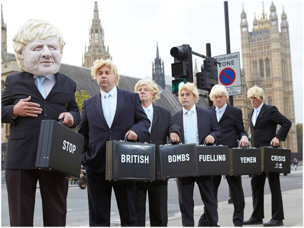 October 2016: Ahead of a UK parliamentary Debate on Yemen, Oxfam campaigners pose as Foreign Secretary Boris Johnson. Photo: Andy Hall