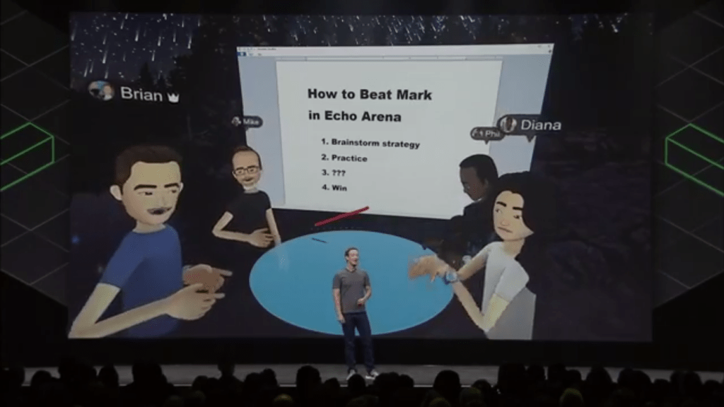 Mark Zuckerberg introducing advancements in social VR at Oculus Connect 4, Oct 2017