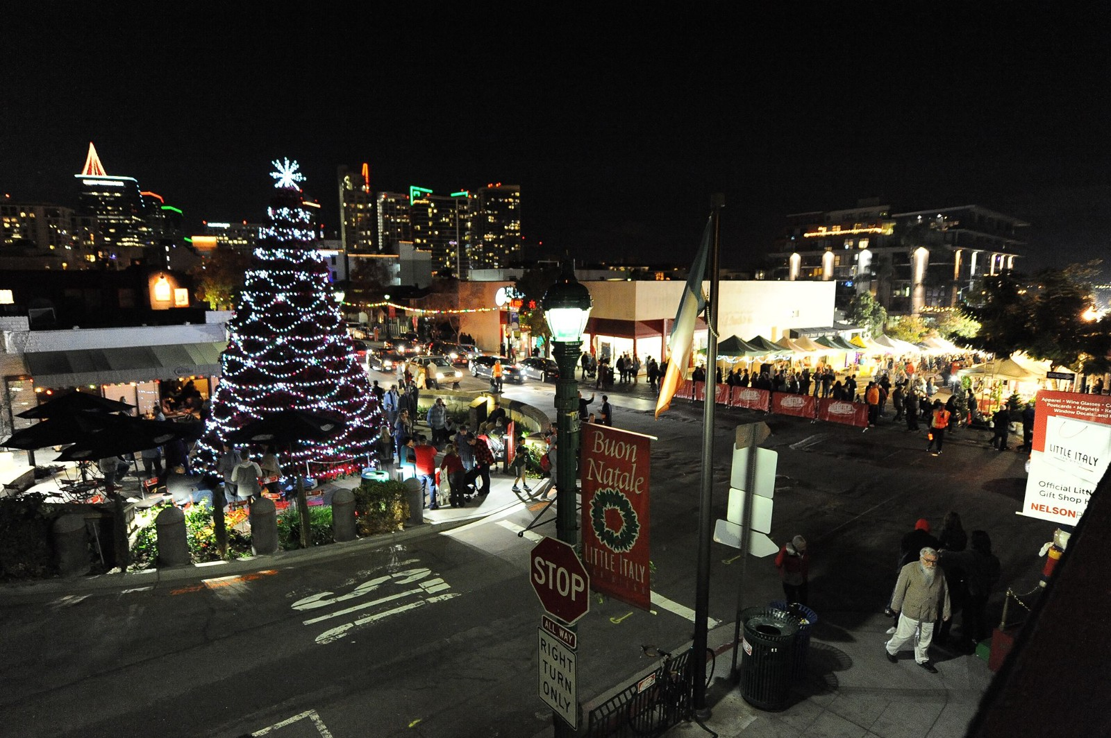 little italy tree lighting christmas village