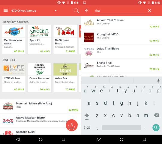 For ex&le try typing in [thai] to see all restaurants labeled as Thai food or \u201ctikka masala\u201d to find all restaurants offering that dish.  sc 1 st  DoorDash & Introducing a Revamped DoorDash for Android \u2013 DoorDash