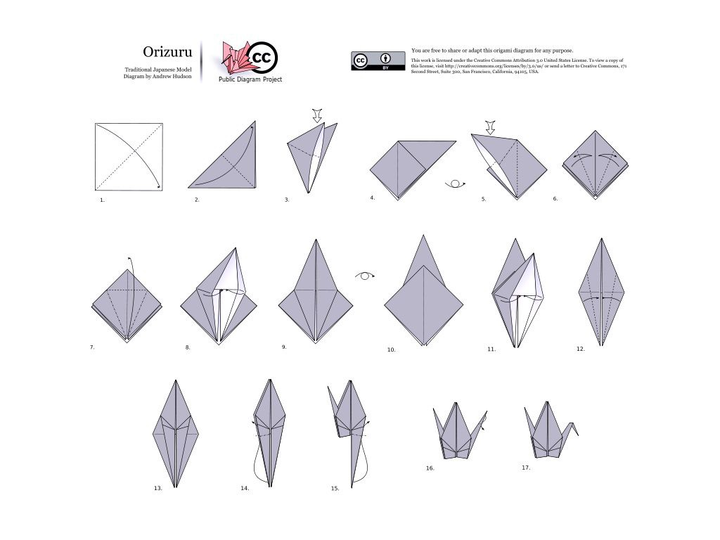 The Origami Crane Diagram Using Yoshizawa Randlett System By Origamidesigner