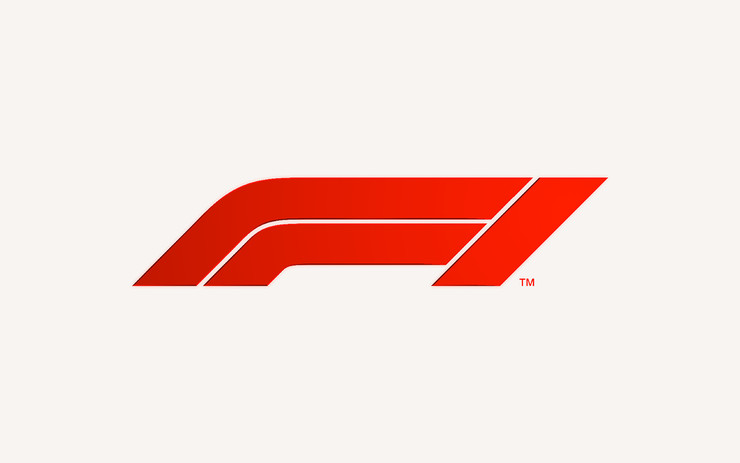 F1 logo red on white