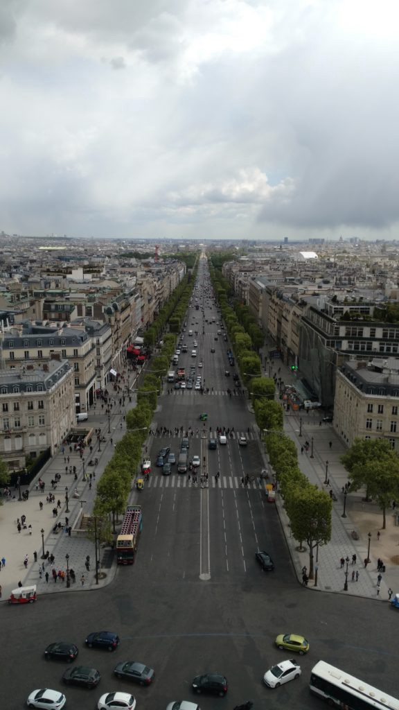 View from the Arc de Triomphe of the Champs-Élysées