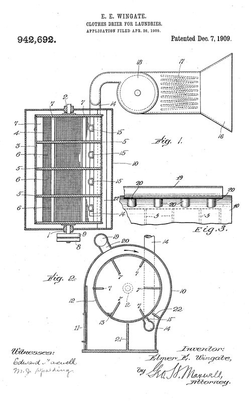 Elmer E Wingate S Take On A Rotary Clothes Drier Google Patents